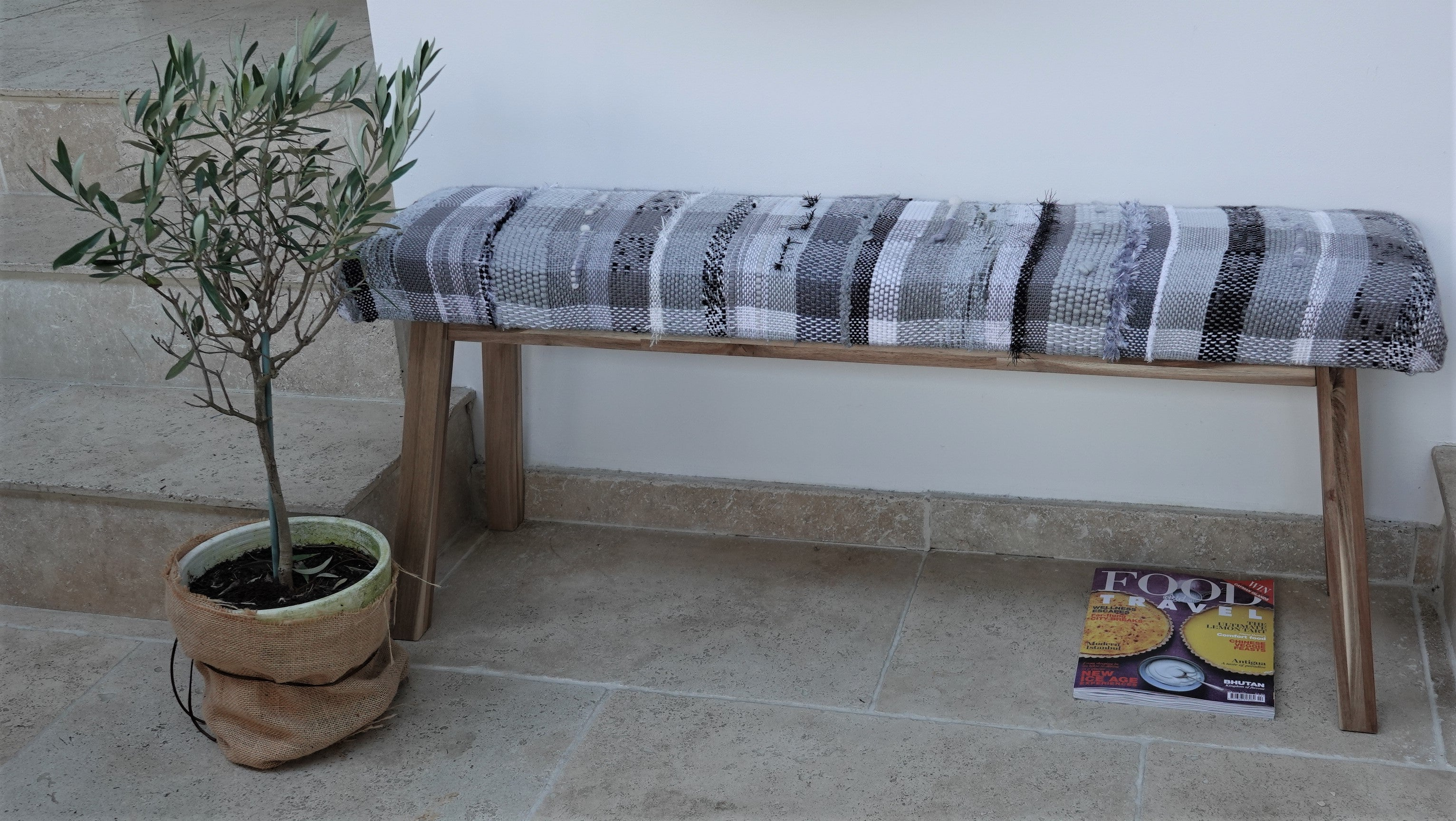 Picture of: Handwoven Upholstered Bench Black Grey And White The Weaving Loom