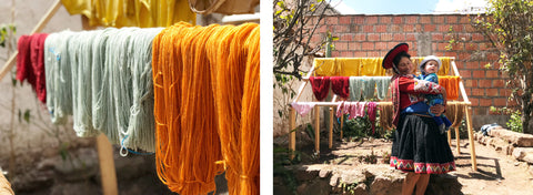 naturally dyed yarns peru