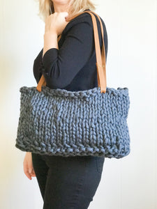 PREORDER Vista Tote Kit | Small (Yarn, Leather Handles, Pattern)