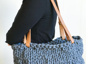 PREORDER Vista Tote Kit | Large (Yarn, Leather Handles, Pattern)