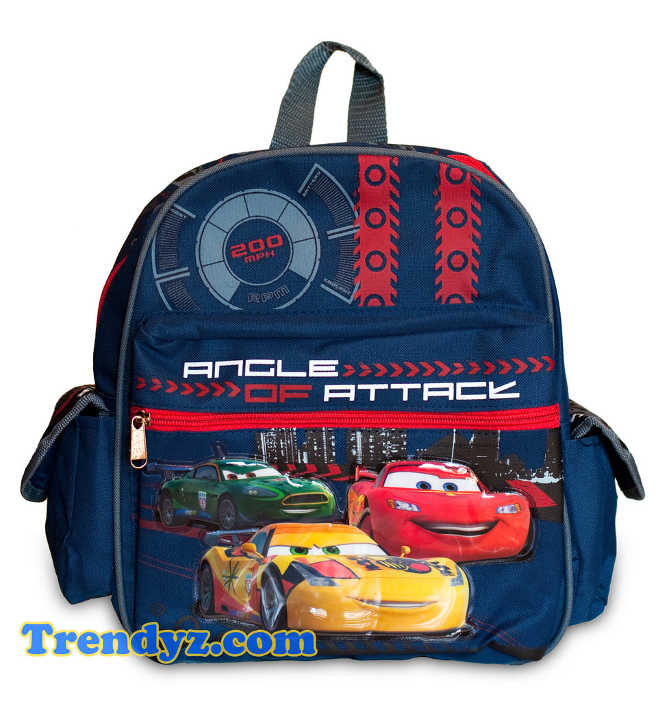 Disney Pixar Cars 2 - Angle of Attack: Miguel Camino, Nigel Gearsley & Lightning McQueen Toddler Medium School Backpack 12""