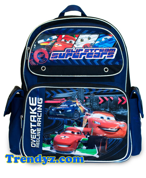Disney Pixar Cars 2 - Slip Stream: Max Schnell, Francesco Bernoulli & Lightning McQueen, Large School Backpack 16""