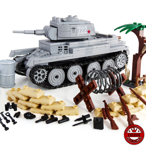 Trendyz Ultimate War Building Toy Kit Set - WW2 BT-7 Russian Light Tank Toy Building Blocks 480+ Total PCS
