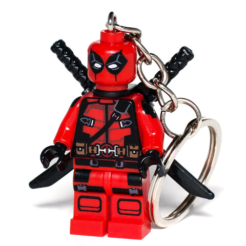 Deadpool Custom minifigure Handmade Keychain Marvel Comics Superhero Key Chain