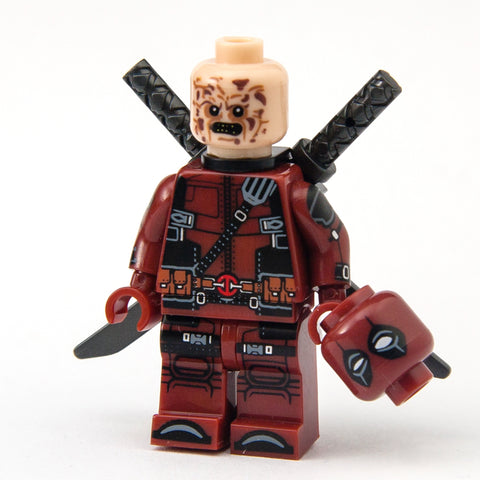 Dark Red Deadpool Custom Minifigure Features 2 non-matching Hand Guns, 1 assault rifle, 1 shotgun and 1 Extra Meathead (Wade Wilson) Lego compatible