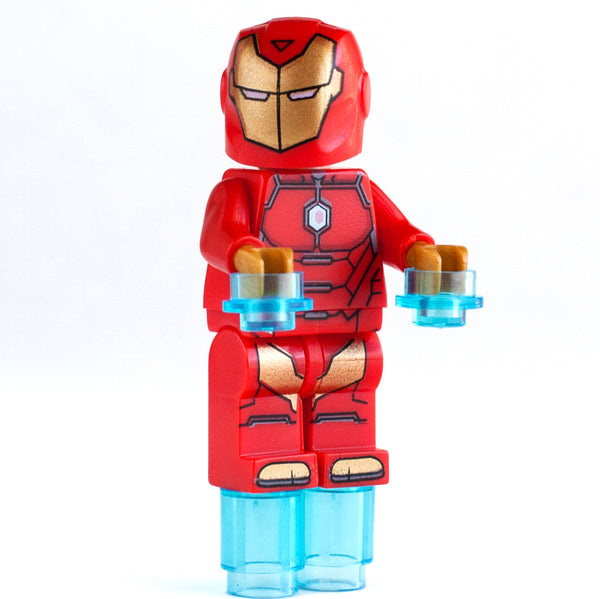 Custom Iron Man minifigure with 2 extra Tony Stark's heads features in Marvel Comics Ironman, Avengers and Infinity Wars Superhero