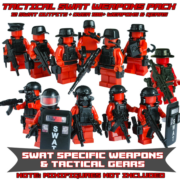 12Pcs / set Military Special Forces Soldiers / SWAT Custom Bricks MiniFigure Guns & Weapons Lego Compatible