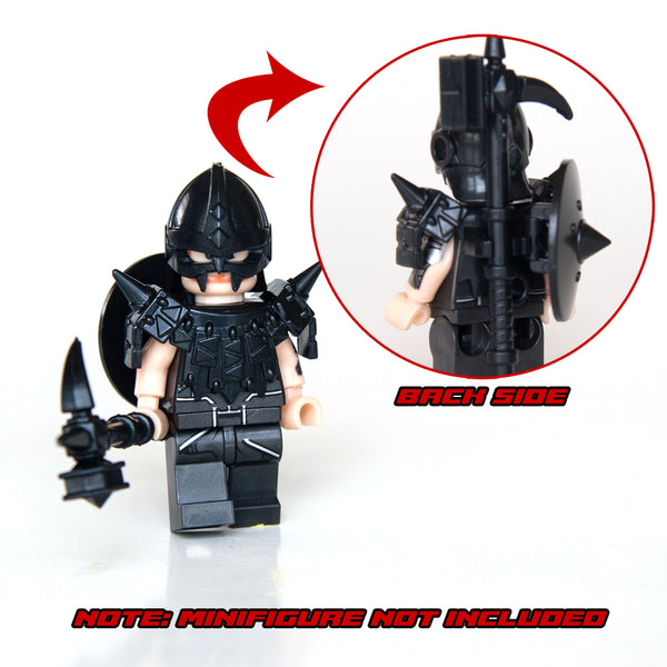 Trendyz Minifigures: Ultimate Warrior Pack Weapon 70 Pcs: Helmets, Armors, Shields, Swords, Maces, War Hammer, Spears, Halberd and More Weapons for Custom Toy Bricks Minifigures