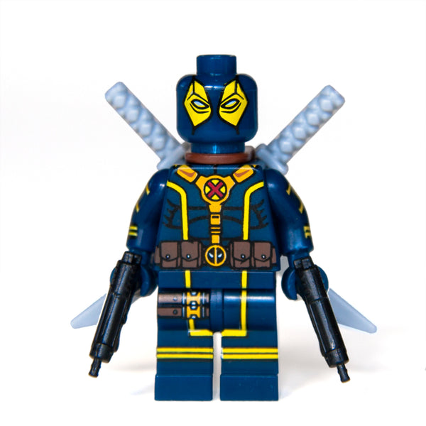Custom Bricks Blue Deadpool X-Force Outfit Mini-figure Marvel Super Heroes with Swords & Guns Lego compatible