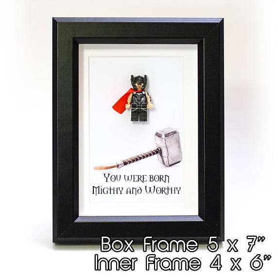 "Thor Custom Minifigure Personalize 3D Art Box in 5"" x 7"" Picture Frame Lego compatible"