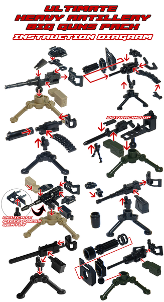 Ultimate Heavy Artillery Big Guns Pack - Military Army Weapons and Accessories Building Block Toy for Custom Lego Bricks Minifigures