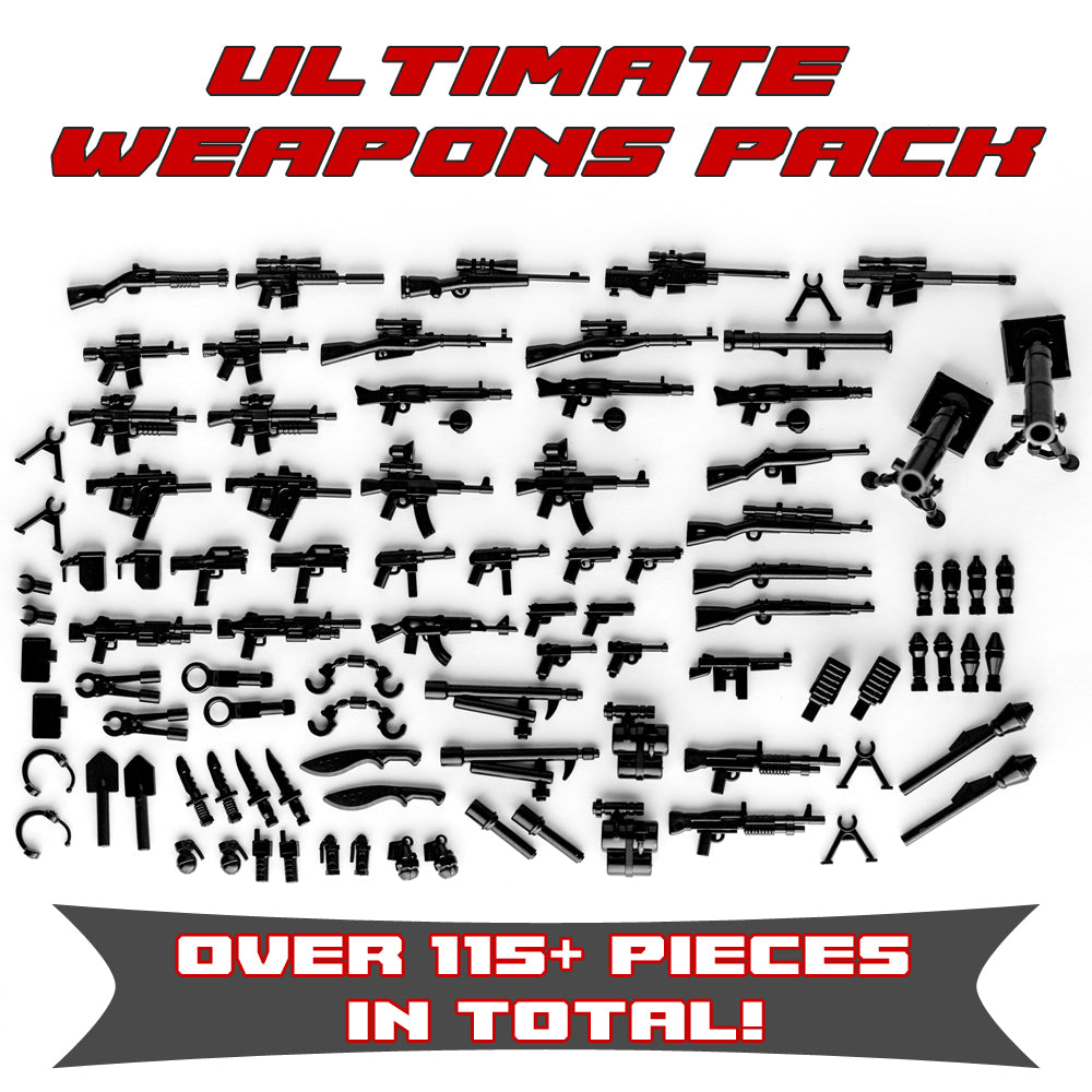 Ultimate Weapons Pack 115+ Weapons and Accessories for Toy Custom Bricks Minifigures