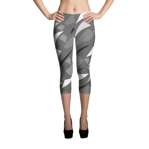 Trendy Grey Geometric Design Capri Leggings Made in USA