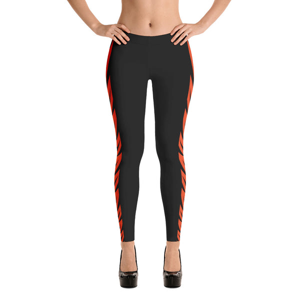 NFL Cincinnati Bengals Black Leggings with Bengal Stripes
