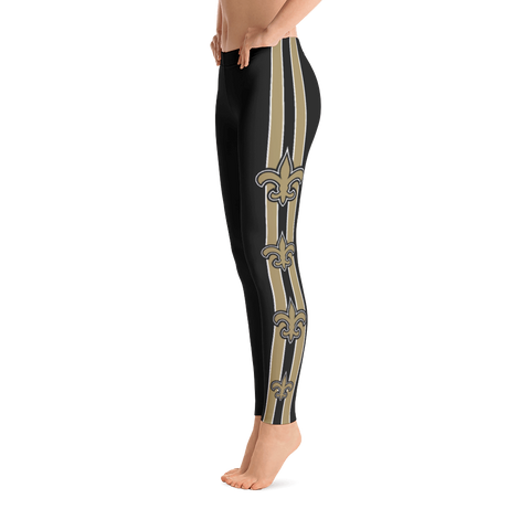 NFL New Orleans Saints Black Leggings with Gold Fleur de Lis