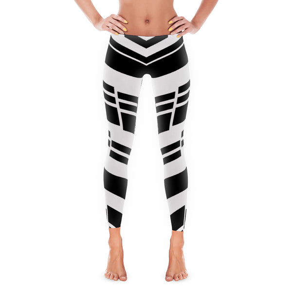 Trendy Black Strips Leggings Made in USA