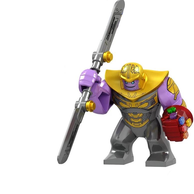 Thanos with Sword from Endgame Custom Minifigure with Infinity Gauntlet Glove with Stones, Marvel Comics Avengers Guardians