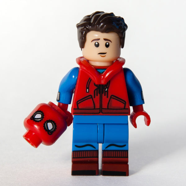 Custom Bricks Super Heroes Peter Parker Spider-Man Homecoming Minifigure with Hood (Hoodie Vest) Lego compatible
