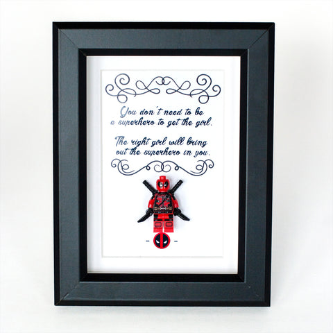 "Deadpool Custom Minifigure Personalize 3D Art Box in 5"" x 7"" Picture Frame Lego compatible"