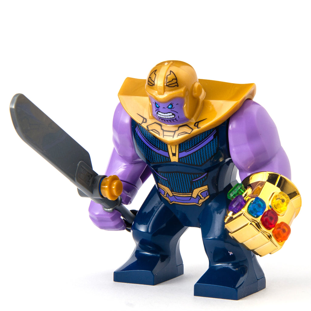 Thanos with Sword from Infinity War Custom Minifigure with Infinity Gauntlet Glove with Stones, Marvel Comics Avengers Guardians