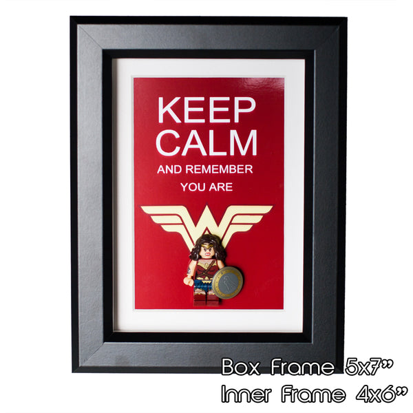 "Wonder Woman Custom Minifigure Personalize 3D Art Box in 5"" x 7"" Picture Frame Lego compatible"