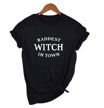Load image into Gallery viewer, Baddest Witch in Town Glow in the Dark Tshirt