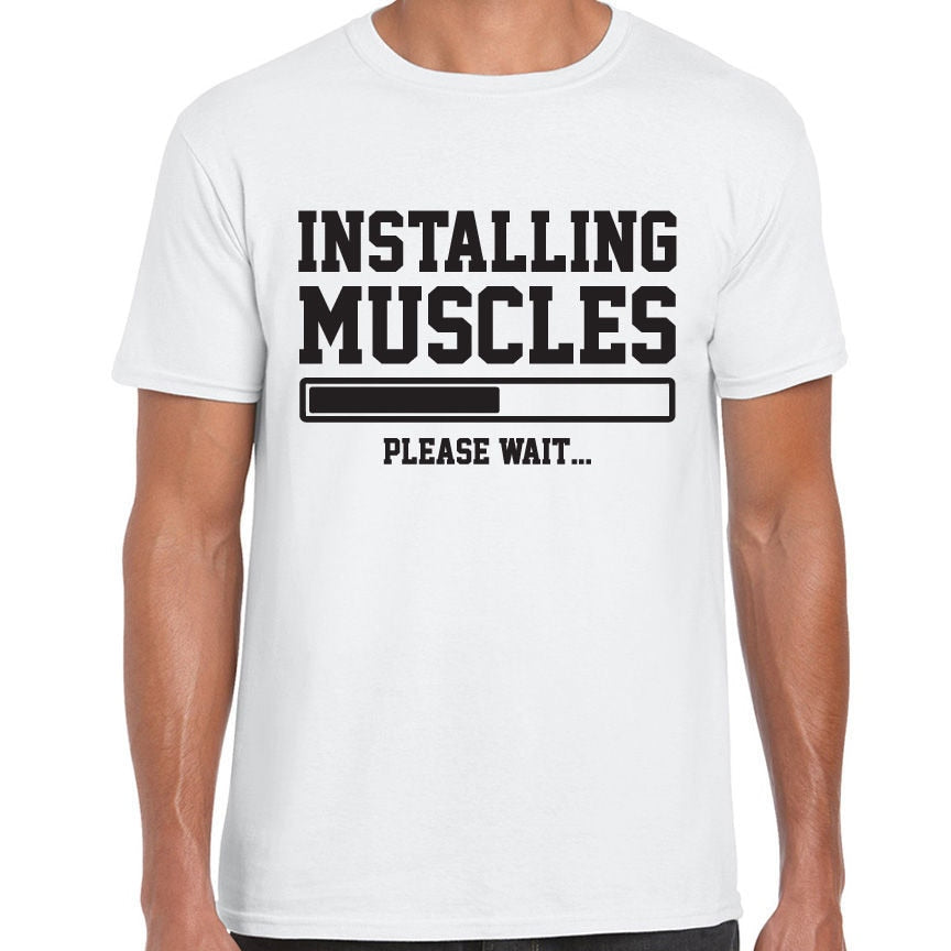 INSTALLING MUSCLES Printed Mens Tshirt. Available in 3 Colours