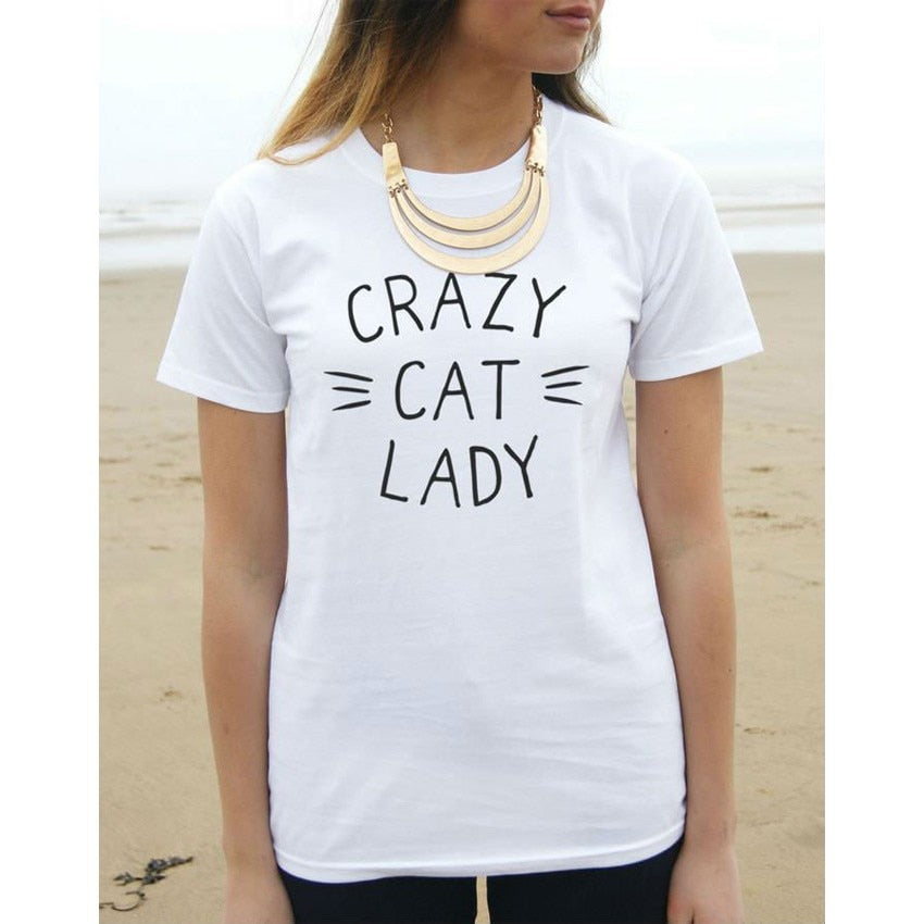 CRAZY CAT LADY Print Casual Tshirt. Available in 3 Colours