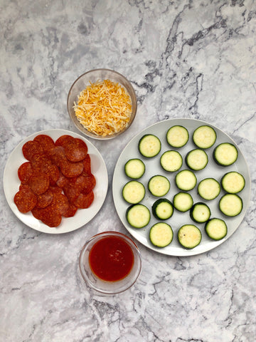 Zucchini pizza bites with cheese, mozzarella and pepperoni