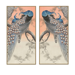 Sunset Peacock Panel Pair
