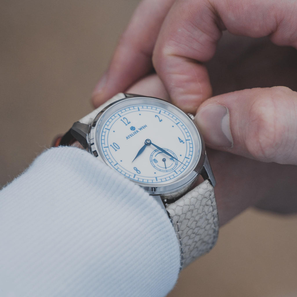 atelier wen watch porcelain odyssey Hao wrist shot with white salmon strap