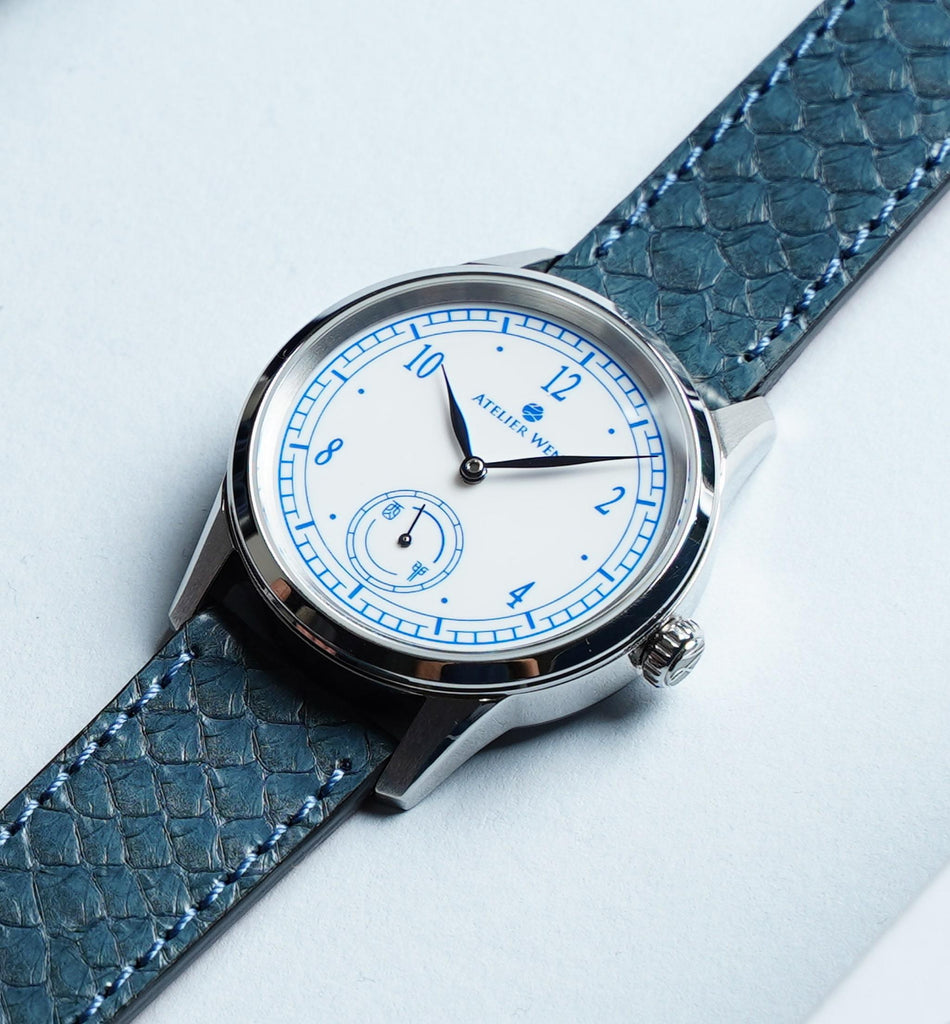atelier wen watch porcelain odyssey Hao enamel dial with blue salmon leather strap