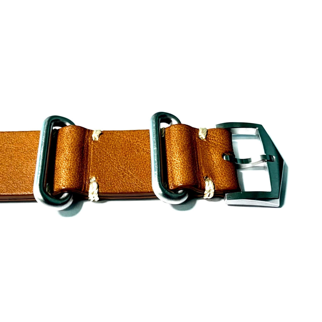 Atelier Wen premium brown leather NATO watch strap buckle