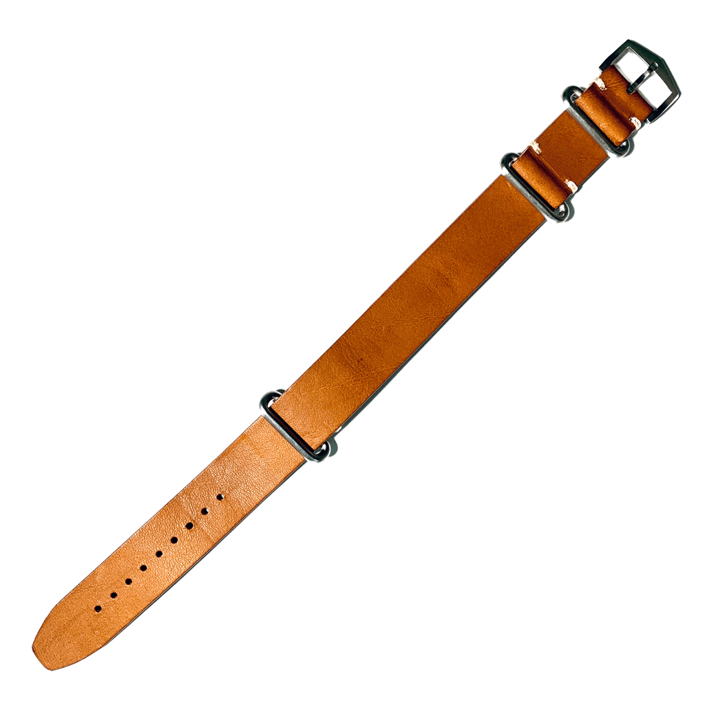 Atelier Wen premium brown leather NATO watch strap
