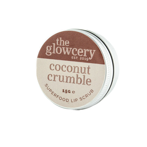 The Glowcery Coconut Crumble Superfood Natural Lip Scrub. Revitalise dry, chapped lips with this sweet smelling coconut scrub. 15g. Worth £12.