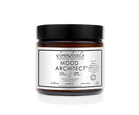 Mood Architect by SuperFoodLx. Vegan supplements containing Vitamin D3 and 5HTP. Stocked at The Spring