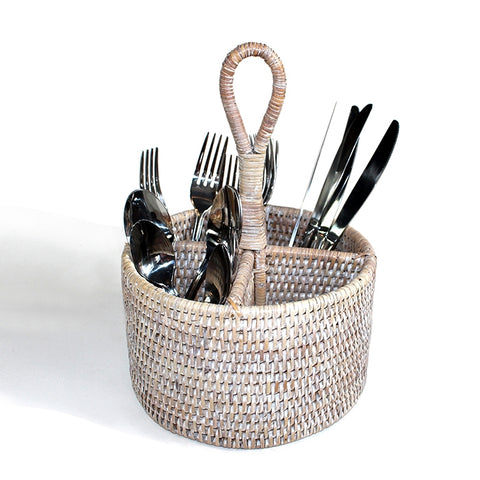 White Washed Round Utensil Basket