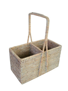 White Washed Wine Carrier Basket