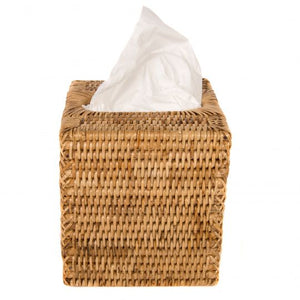 Rattan Column Tissue Box in Honey Brown