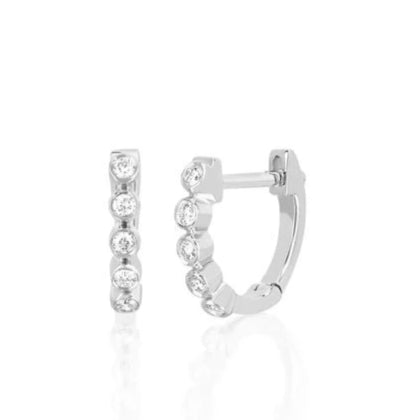 14k Mini Bezel Diamond Huggie Earrings in White Gold