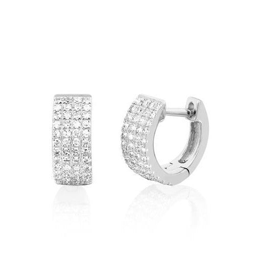 14k Jumbo Mini Diamond Huggie Earrings in White Gold