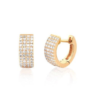 14k Jumbo Mini Diamond Huggie Earrings in Yellow Gold