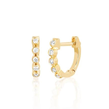 14k Mini Diamond Bezel Huggie Earrings in Yellow Gold