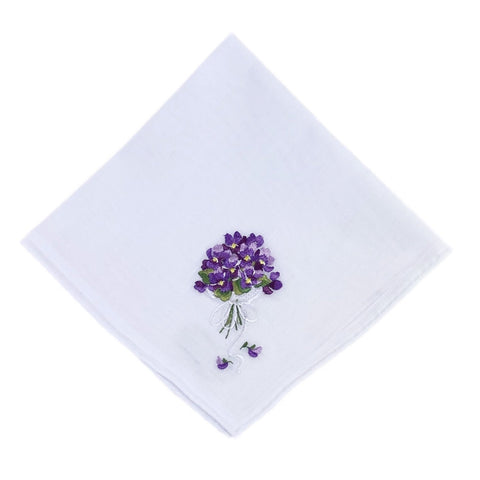Swiss Violets Cotton Hankie
