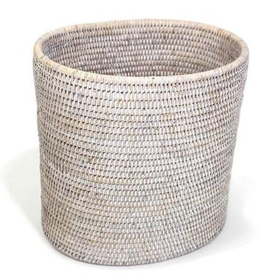 Oval Rattan Wastebasket in Whitewash