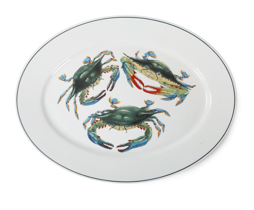 Blue Crab Oval Platter Jersey Pottery Indulge Decor Fashion