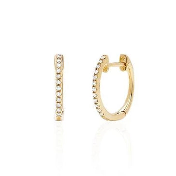 Diamond Mini Huggie Earrings in Yellow Gold