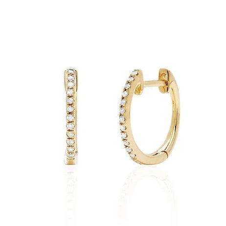 Diamond Huggie Earrings in Yellow Gold