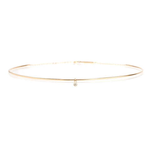 Yellow Gold Choker with Single Bezel Set Diamond
