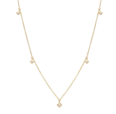 Yellow Gold Chain Necklace with 5 Princess Cut Diamond Dangles